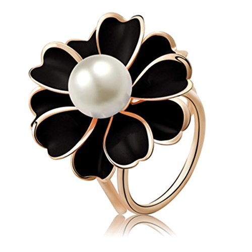 Reizteko Women's Fashion Hollow Flower Faux Pearl Gold Toned Scarf Ring Buckle Clip (Black)