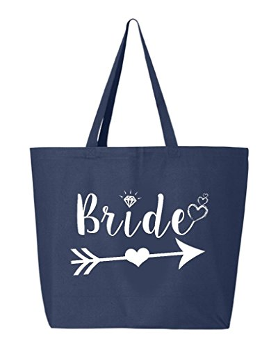 (Shop4Ever Bride Heart Arrow White Jumbo Heavy Canvas Tote Wedding Reusable Shopping Bag 10 oz Navy 1 Pack Jumbo)