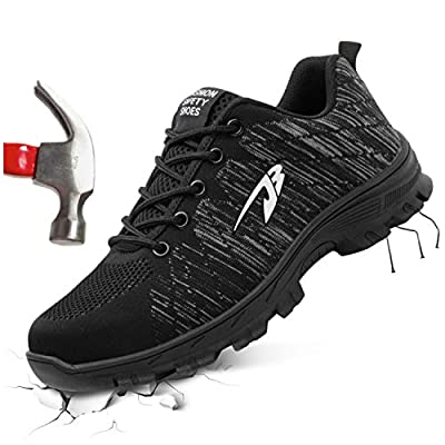 FEETCITY Women & Mens Steel Toe Safety Work Shoes Industrial & Construction Sneakers Puncture Proof Breathable Slip Resistant Shoe