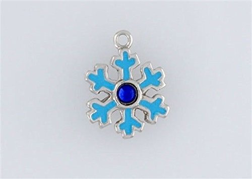 Sterling Silver Enameled Snowflake Charm Jewelry Making Supply, Pendant, Charms, Bracelet, DIY Crafting by Wholesale - Charm Enameled Snowflake