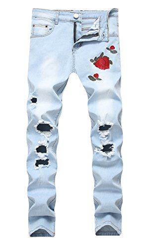 (Men's Light Blue Skinny Fit Ripped Destroyed Rose Printed Stretch Jeans Pants)