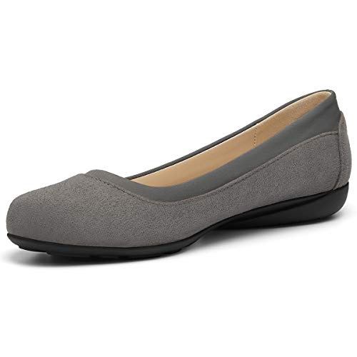 Classic Ballet Shoes for Women Soft Slip-On Loafer Cute Round Toe Flat Shoes Solid Colors Grey 11