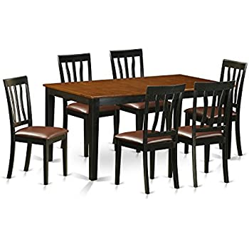 East West Furniture NIAN7 BCH LC 7 Piece Dining Table And 6 Solid Wood