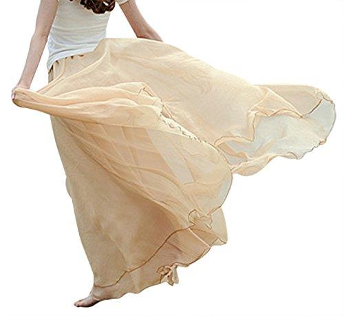 Feoya Mujer Maxi Larga Falda Bohemia Dobladillo Grande Chifón Skirt Albaricoque