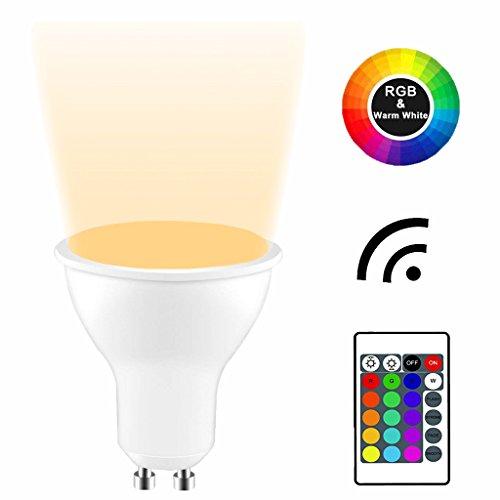 (YAYZA! 4-Pack Premium Dimmable GU10 6W RGB+Warm White 3000K Colour Changing IR Remote Control LED Spotlight Downlight Light)