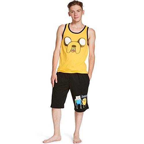 Time Short Set (Adventure Time Mens Tank and Shorts Pajamas (Large (36-38), Jake Yellow/Black))