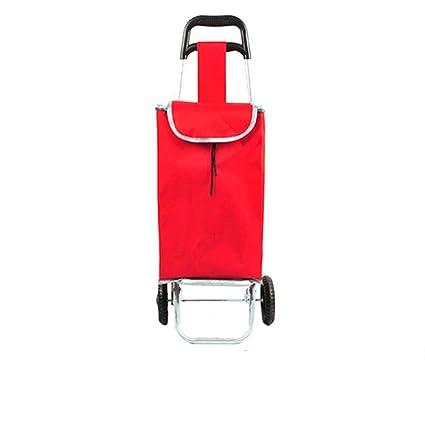 BHXUD Carro de Compras, Carro Multifuncional portátil Plegable para el hogar (Rojo)