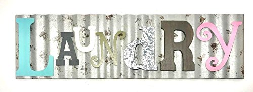 Laundry Galvanized Metal Colorful Wooden Letters Wall Decor Laundry Room Wash Room Sign Rustic and Unique (Decor Wall Sign)