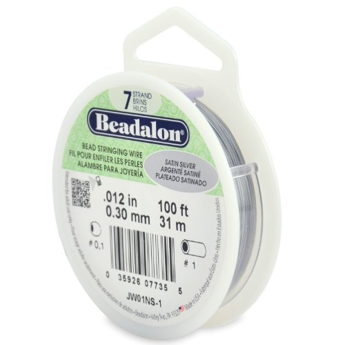 Beadalon 7-Strand Stainless Steel 0.012-Inch Bead Stringing Wire, 30-Feet, Satin Silver ()
