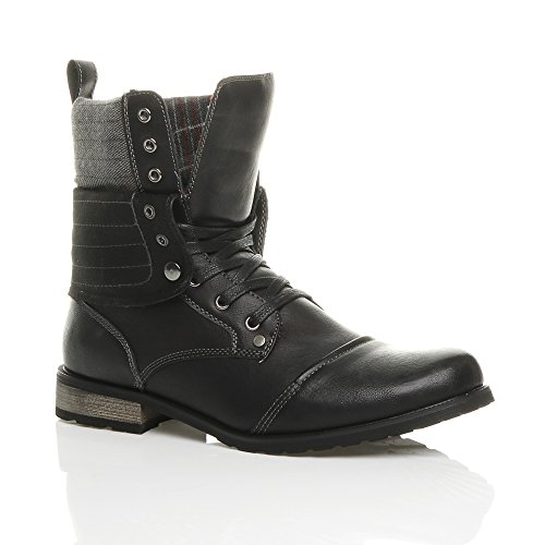 Fold Over Flat Boot - Ajvani Mens Lace Up Low Heel Flat Fold Over Padded Cuff Military Ankle Boots Size 13 46