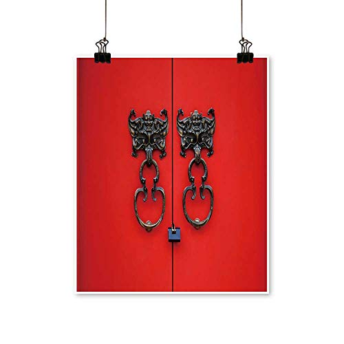 Hanging Painting bat Knocker on red Door Rich in Color,28