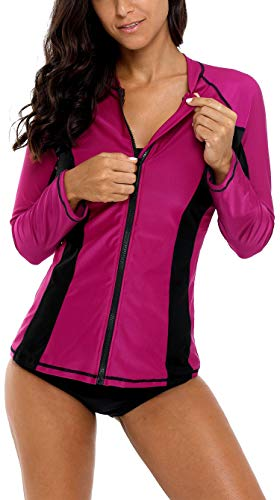 09f1b08f7eb ATTRACO Rash Guard Women Long Sleeve Zip Swim Shirt Rashguard Swimsuit Wine  XL