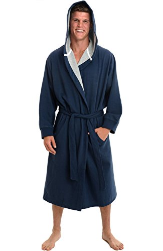 Alexander Del Rossa Mens Cotton Robe, Sweatshirt Style Hooded Bathrobe, Small Medium Midnight Blue (Lined Microfiber Pullover)