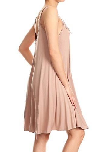 Cami Strap Detail Sun Dress Anna with Flowy Lace Beige Kaci Adjustable Womens Spaghetti qqwYPpI