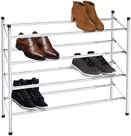 2 Tier Chrome Stackable & Extendable Shoe Rack Storage Organiser (4 Tier Chrome)