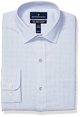 - BUTTONED DOWN Men's Classic Fit Tech Stretch CoolMax Easy Care Dress Shirt, Fine Stripe Blue, 17.5