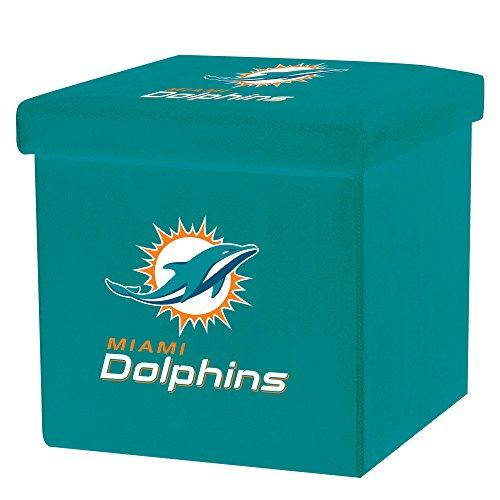 Franklin Sports NFL Miami Dolphins Storage Ottoman with Detachable Lid 14 x 14 x 14 - Inch (Miami Cheap Furniture)