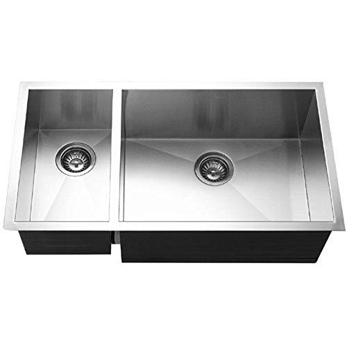 Undermount Double 30 Bowl - Houzer CTO-3370SL Contempo Series Undermount Stainless Steel 70/30 Double Bowl Kitchen Sink, Prep bowl left