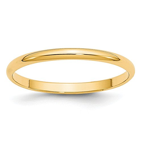 JewelrySuperMart Collection 14k Yellow Gold 2mm Plain Half Round Domed Classic Wedding Band - Size 9 ()