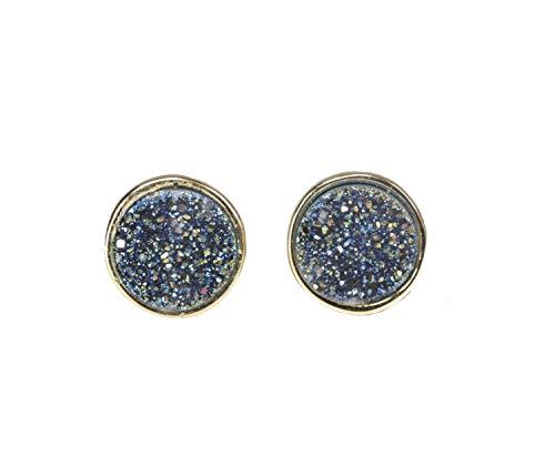 Blue Gray Iolite Druzy Stud Earring Genuine Druzy Quartz Gemstone - Genuine Slate