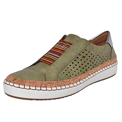 - TnaIolral Women Casual Hollow-Out Shoes Round Toe Slip On Flat with Sneakers (US:9.5, Green)