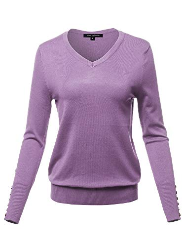 Casual Premium Quality with Gold Button Stretchy V-Neck Sweater Top Lilac Grey S