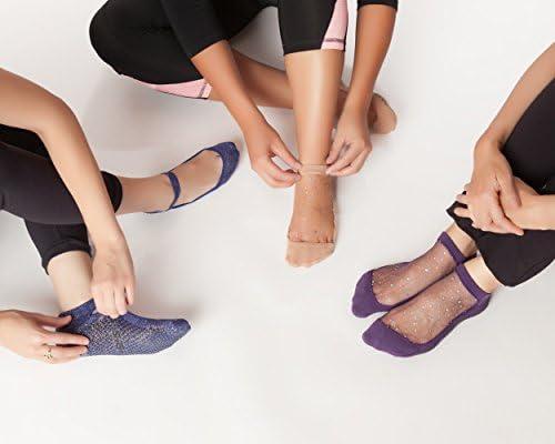 Shashi purpurina de malla antideslizante ergon/ómico calcetines para Pilates Barre Ballet Yoga danza
