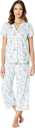 Karen Neuburger Womens Cloud Nine Short Sleeve Girlfriend Capris PJ Floral/Mint MD (Women's 10-12) ()