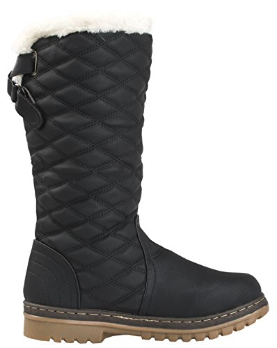 3 Shoes Fur Winter Faux High Womens Quilted UK Dora Black Boots Ladies Knee 8 Boots Size Lora Snow Lined qHa4O1x