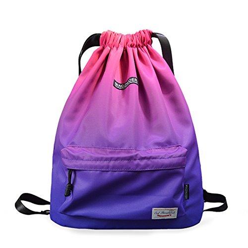 XMRS Unisex Drawstring Backpack Purple Gym Bag With Pockets Waterproof Nylon Daypack Large Sackpack ()