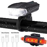 Ausein Luz de Bicicleta, Lámpara de Bicicleta Recargable USB, Luces para Bicicletas Delantera 400 LM XPG y Trasera 110 LM Impermeable