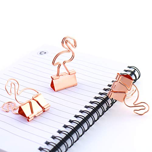 Eagle Binder Clips, Paper Clips, Page Marker, Cute Flamingo Shaped, Rose Gold, for Office School Supplies, Pack of 8(Flamingo) (Clip Flamingo)