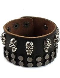"<span class=""a-offscreen"">[Sponsored]</span>Punk Chic Jewelry Wide Brown Leather Skull Stud Bracelet"