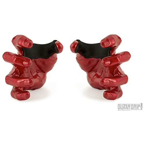 Guitar Grip Studios 2 Pack Left and Right Hand Red Rum Metallic Red Guitar Hanger ()