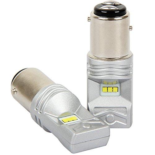 GSlife 1157 LED Bulbs 6 CSP chips 760 Lumens Xenon White 6000K 30W for Car Brake Light (pack of 2) (Jandy Pilot)