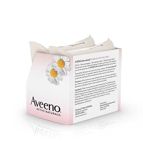 41IsPPYs8DL Aveeno Ultra-Calming Cleansing Oil-Free Makeup Removing Wipes for Sensitive Skin, 25 Count, Twin Pack