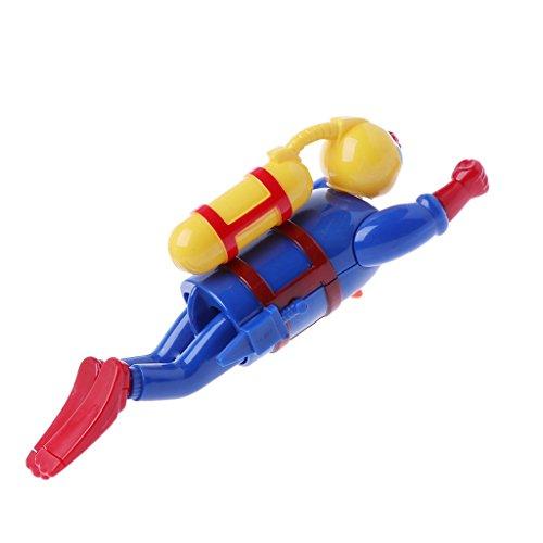 Clockwork Wind Up Swimming Diving Scuba Diver Children Bath Toy Game