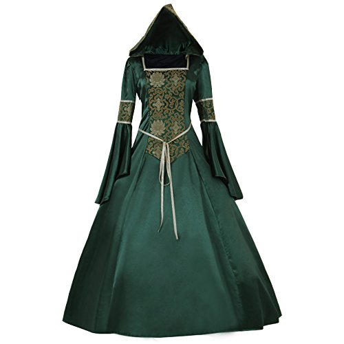 CosplayDiy Women's Medieval Hooded Fancy Dress Victorian Costume G (Medieval Fancy Dress Plus Size)