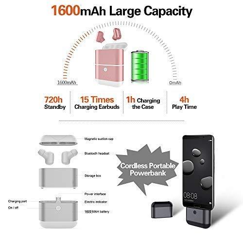 Zagzog Auriculares Bluetooth Inalámbricos, Bluetooth V5.0 Impermeable IPX5 Cargador Portátil de 1600mAh Mini Manos Libres Estéreo con Micrófono reducción de ...