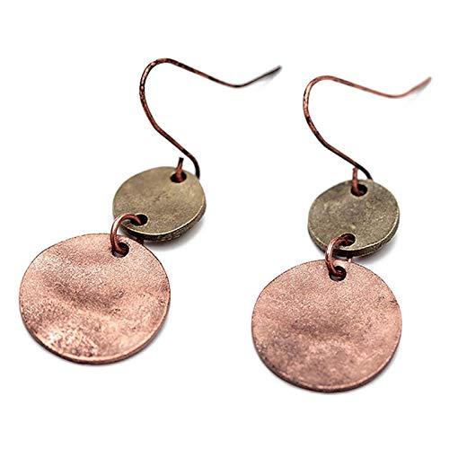 SODIAL mujeres Europa cinc aleacion gota pendientes Vintage plata cobre doble ronda colgante collar pendientes joyas antiguas para fiesta (color ...