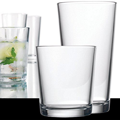 Clear Drinking Glasses Set Of 16, Durable Heave Base Glass Cups, 8 Highball Glasses and 8 Rocks Glasses- Beer Glasses Ideal for Water, Juice, Wine, and Cocktails