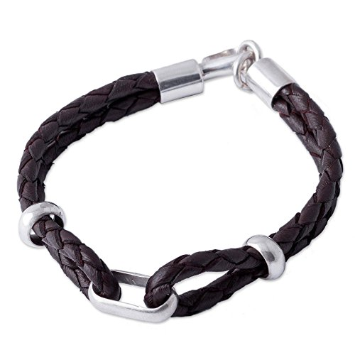 NOVICA Men's .925 Sterling Silver Brown Leather Braided Bracelet with Hook Clasp, 8.75