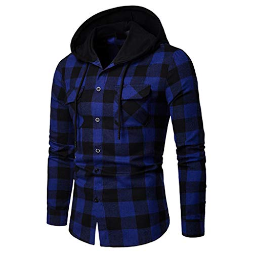 Allywit Men's Long Sleeve Lattice Painting Hoodie Large Size Casual Top Blouse Shirts Blue