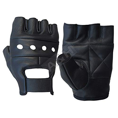A&H Apparel Leather Motorcycle Glove Genuine Cowhide Fingerless Leather Driving Gloves (Small)