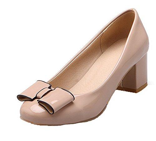 VogueZone009 Damen Mittler Absatz Rein Ziehen auf Lackleder Rund Zehe Pumps Schuhe, Aprikosen Farbe, 34