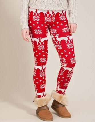 soul cal deluxe christmas leggings red womens 18