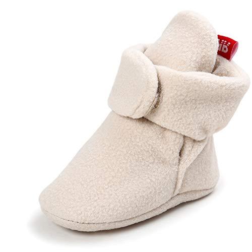 Baby Boys Girls Fleece Booties Non-Slip Bottom Winter Socks Shoes Unisex Pram Soft Sole First Birthday Gift]()