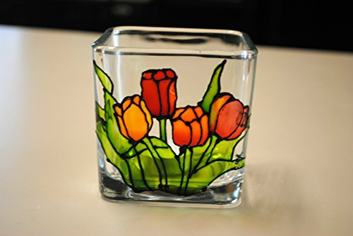 (Tulips Flower Multi Color Stained Glass Square Hand Painted Candle Holder)