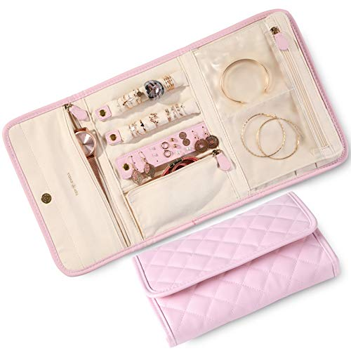 Tidy Jewels! Travel Jewelry Organizer - Traveling Jewelry Case with Tangle-Free Necklace Jewelry Storage, Earring Holder, Ring Organizer and Bracelet Holder Pouch - 9 x 6 Inch Jewelry Roll Bag (Pink)