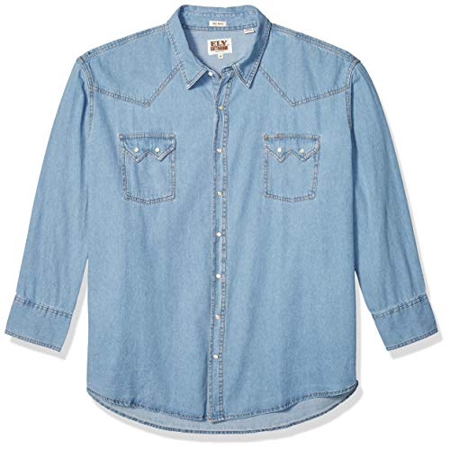 Ely & Walker Men's Long Sleeve Denim Western Shirt, Large